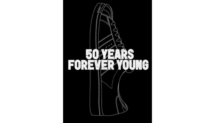 Brand vibes 50 years forever young white font on black background with shoe visual