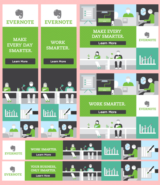 Evernote brand name and logo in center visual