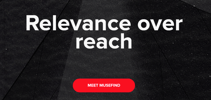 Relevance over reach banner with red button meet musefind